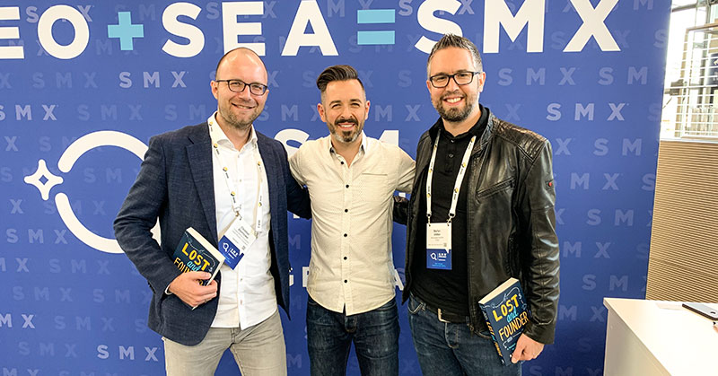 Christian Ebernickel, Rand Fishkin and Stefan Vetter at SMX Munich 2019